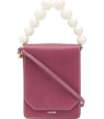 cafuné bellows leather shoulder bag - pink
