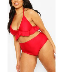 plus under bust ruffle high waist bikini, red