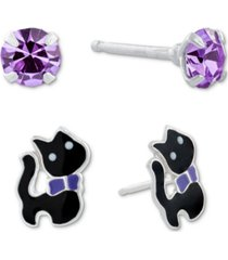 giani bernini 2-pc. set crystal solitaire & enamel cat stud earrings in sterling silver, created for macy's
