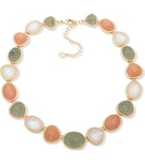"anne klein gold-tone crystal, stone & mother-of-pearl collar necklace, 16"" + 3"" extender"