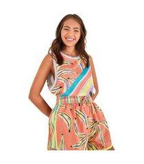 camiseta regata farm rio telas bananas coloridas - feminina