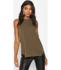 tall high neck strap top, khaki