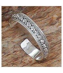 sterling silver cuff bracelet, 'frangipani line' (indonesia)
