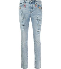 philipp plein rhinestone charm distressed skinny jeans - blue