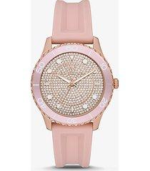 mk orologio runwaydive oversize tonalità oro rosa con pavé e cinturino in silicone - rosa (rosa) - michael kors