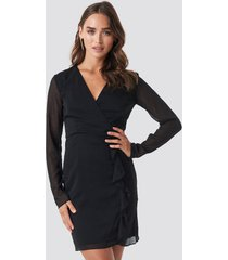 trendyol mesh sleeve frilly dress - black