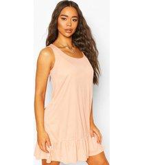 rib sleeveless drop hem shift dress, peach