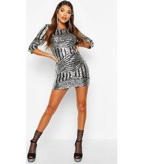 boutique bodycon jurk met pailletten, zilver