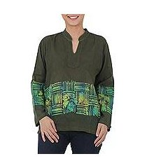 cotton batik blouse, 'olive branch' (thailand)