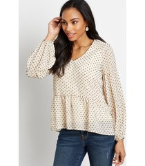 maurices womens white swiss dot long sleeve babydoll top beige