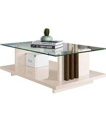 mesa de centro madetec frizz, off white e savana
