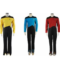 star trek jumpsuit medical science cosplay costume red blue yellow uniform