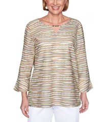 alfred dunner women's textured striped bell sleeve top