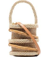 aranaz beaded detail mini bucket bag - neutrals
