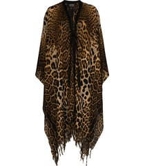 saint laurent leopard print tie-front cape - brown