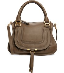 chloe medium marcie calfskin leather satchel - green