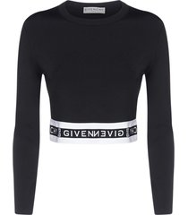 givenchy logo-band stretch viscose cropped sweatshirt