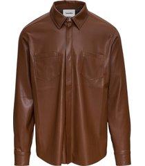 nanushka brown vegan leather shirt