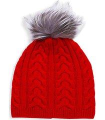 fox fur pom-pom cable-knit cashmere beanie