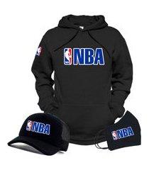 moletom canguru e boné preto liga de basquete nba com máscara