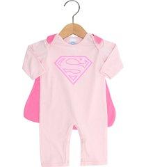 pijama get baby super homem menina rosa - kanui
