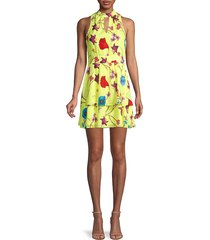 parker women's floral-print fit-&-flare tiered dress - valencia lime - size m