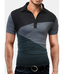 colletto rovesciato manica corta manica corta in cotone hit estivo da uomo sottile golf camicia