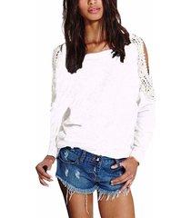 zanzea blusas de las mujeres 2018 mujer suéter manga o cuello largo del hombro del cordón del ganchillo camisa otoño blusas tops de gran tamaño s-5xl blanco -blanco