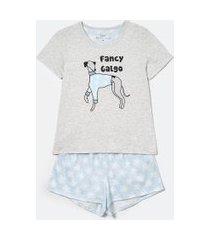 pijama blusa manga curta e short algodão estampa cão preguiça | lov | cinza | m