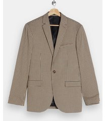 mens beige stone check skinny single breasted suit blazer with notch lapels