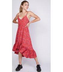 vestido maxi floreado con cola de vuelos rojo