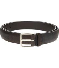 man dark brown 3.5cm suede cloudy belt