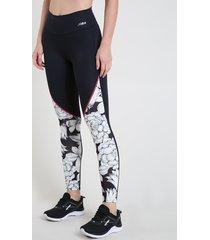 calça legging feminina esportiva ace cintura alta floral com vivo contrastante preta