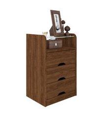 mesa de cabeceira roma 3 gavetas jacarandá madeirado robel móveis marrom