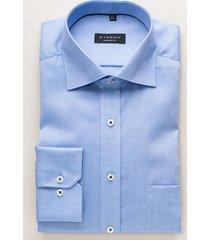 eterna heren overhemd effen fine oxford classic kent comfort fit blauw
