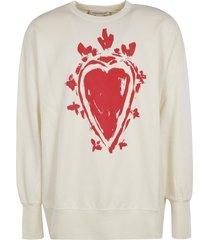 alexander mcqueen heart paint ribbed sweatshirt