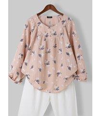 camicetta casual a maniche lunghe con bottoni a scollo a pieghe con stampa floreale per donna