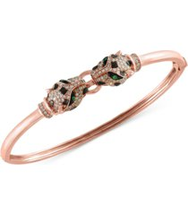 effy diamond (3/4 ct. t.w.) and tsavorite accent bangle bracelet in 14k rose gold