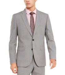 hugo by hugo boss men's slim-fit medium gray check suit separate jacket