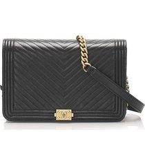 chanel chevron boy lambskin wallet on chain black sz: