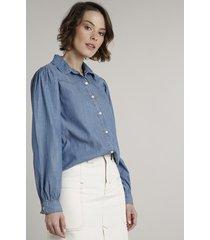 camisa jeans feminina com recorte manga bufante azul médio