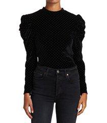 tanya taylor women's elsie puff-sleeve top - black - size xs