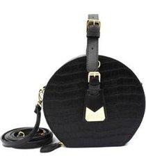 bolsa maria milão mini bag redonda croco alça de mão ajustável feminina