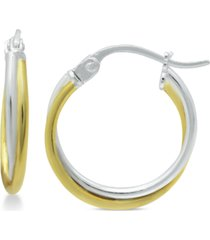 giani bernini extra small overlap hoop earrings in sterling silver and 18k gold-plate, 15mm, created for macy's