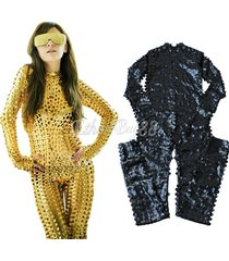 women lady golden sexy one-piece scaly jumpsuit bodysuit rompers costume catsuit