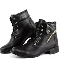 bota alice monteiro coturno cano curto detalhe dobra no cano zíper lateral - preto
