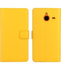 genuine split leather phone case for microsoft lumia 640 xl / lte - yellow
