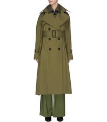 belted paneled trench coat