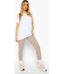 zwangerschap premium geribbelde leggings, taupe