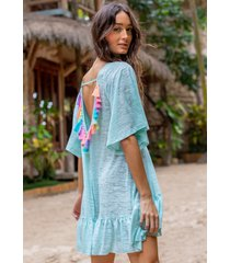 pitusa tassel back dress aqua
